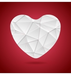 White polygonal tech heart on red background vector