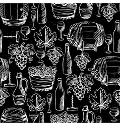 Wine seamless pattern drawn by chalk vector