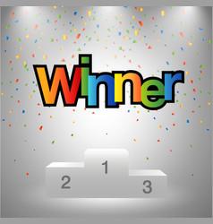 Winner sign poduim sport game vector