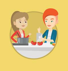 women cooking healthy vegetable meal vector image vector image