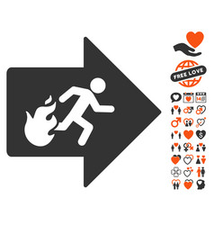 fire exit icon with love bonus vector image