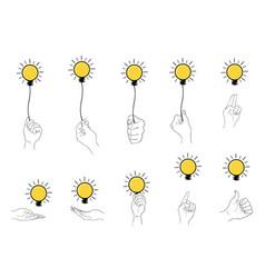 Hand holding light bulb set on white background vector