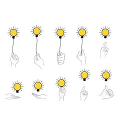 hand holding light bulb set on white background vector image