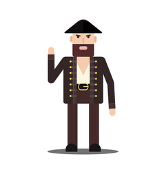 Male pirate in flat style isolated on the white vector