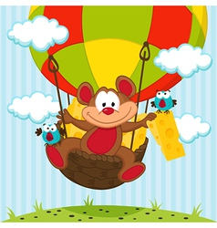mouse and a bird in a balloon vector image