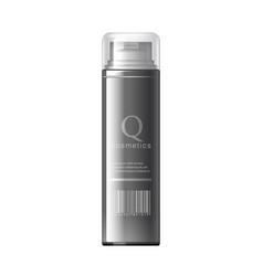 Realistic black cosmetics bottle can spray vector