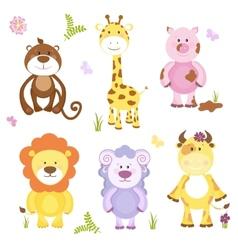 Cute cartoon animal set vector image