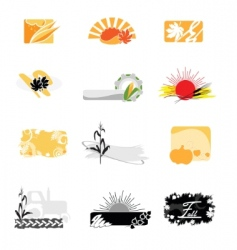 Autumnal icons vector