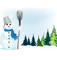 Smiling snowman with broom and bucket vector