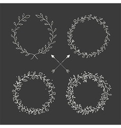Hand drawn vintage arrows floral elements vector