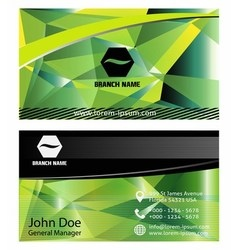 Green vertical business card set vector