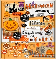 Halloween scrapbook elements vector