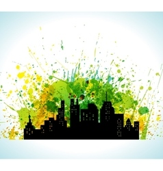 Color paint splashes eco green city background vector