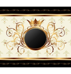 Gold invitation frame vector