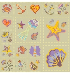 Marine seamless pattern sea patchwork vector
