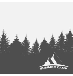 Summer Camp Image of Nature Tree Silhouette vector image