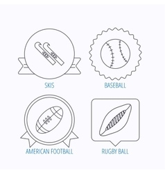 Sport fitness rugby ball and baseball icons vector