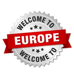 Europe 3d silver badge with red ribbon vector