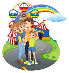 A family at the park vector image vector image