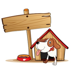 A signage beside a doghouse vector image vector image