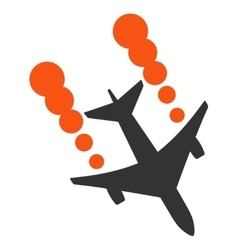 Airplane smoke trace icon vector
