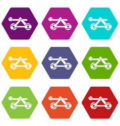 Ancient wooden catapult icon set color hexahedron vector