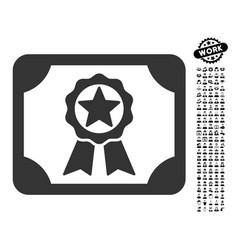 Award diploma icon with people bonus vector