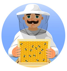 beekeeper in a white suit portrait of a man in a vector image vector image