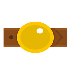 Belt with gold oval shaped buckle icon isolated vector