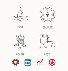 bonfire fishing float and hiking boots icons vector image