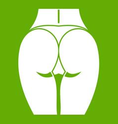 Buttocks of girl icon green vector