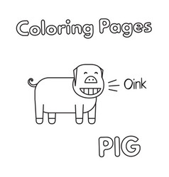 Cartoon pig coloring book vector