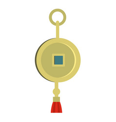 Chinese coin of luck icon isolated vector