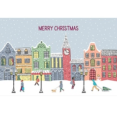 Christmas and New year greeting card Hand drawn vector image vector image
