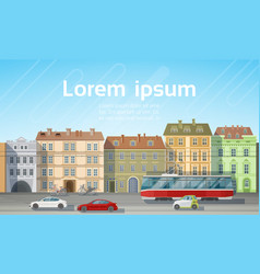 city building houses view with car road tram vector image vector image