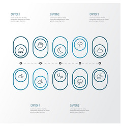 Climate outline icons set collection of cloud sky vector