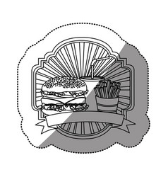 Contour emblem with hamburger soda and fries vector