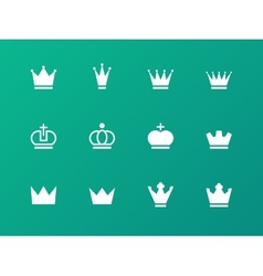 Crown icons on green background vector