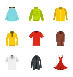 different clothes icons set flat style vector image