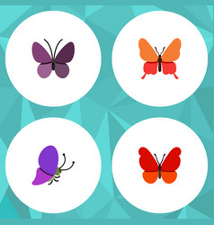 Flat moth set of monarch danaus plexippus violet vector