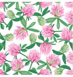 floral seamless pattern with red clover vector image vector image