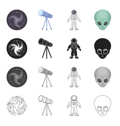 galaxy space flight and other web icon in vector image