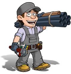 Handyman plumber gray vector