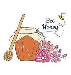 honey with flowers doodle vector image vector image