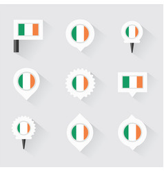 Ireland flag and pins for infographic and map vector