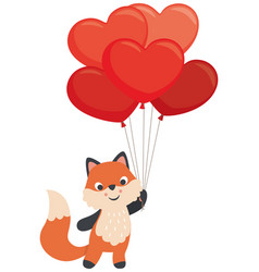 little fox holding heart shaped balloons valentine vector image vector image