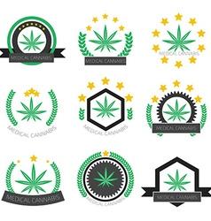Medical cannabis logo set Medical marijuana logo vector image