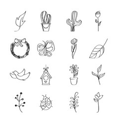 outlined icons decoration spring season vector image