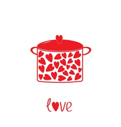 Pot with hearts love card vector