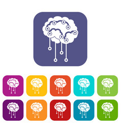 Sensors on human brain icons set vector